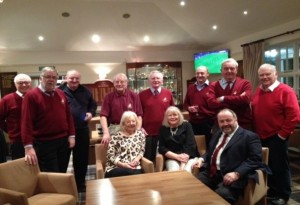 Members of Puddenecks Club assembled to support guests arriving for New Year Party at Old Fold Manor Golf Club.